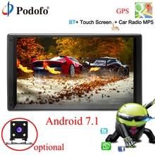 Podofo Android 7,1 2 Din 7 «HD Автомобильный Радио gps навигации мультимедийный плеер MP5 Сенсорный экран Авторадио Wi-Fi bluetooth USB FM 2DIN