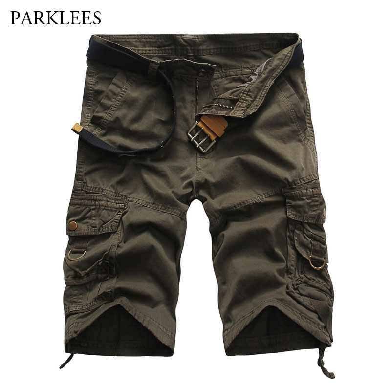 Cargo-Shorts Multi-Pocket Knee-Length Cotton Mens Summer Casual Brand Work Masculino
