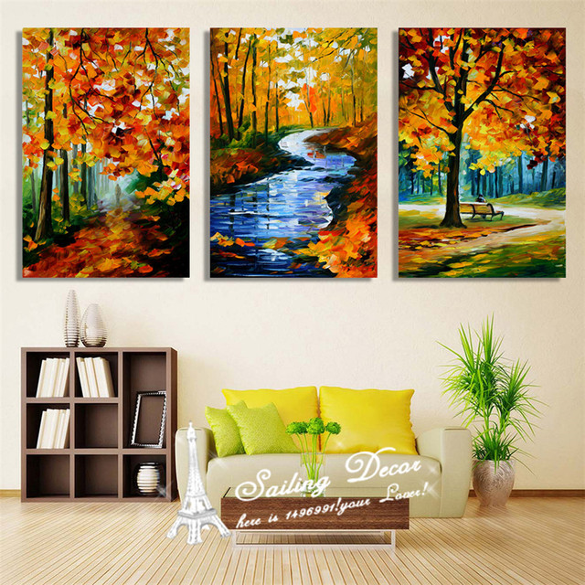 3 Pieces Canvas Painting Without Frames On The Wall River Flowing From The Forest  Home Decor