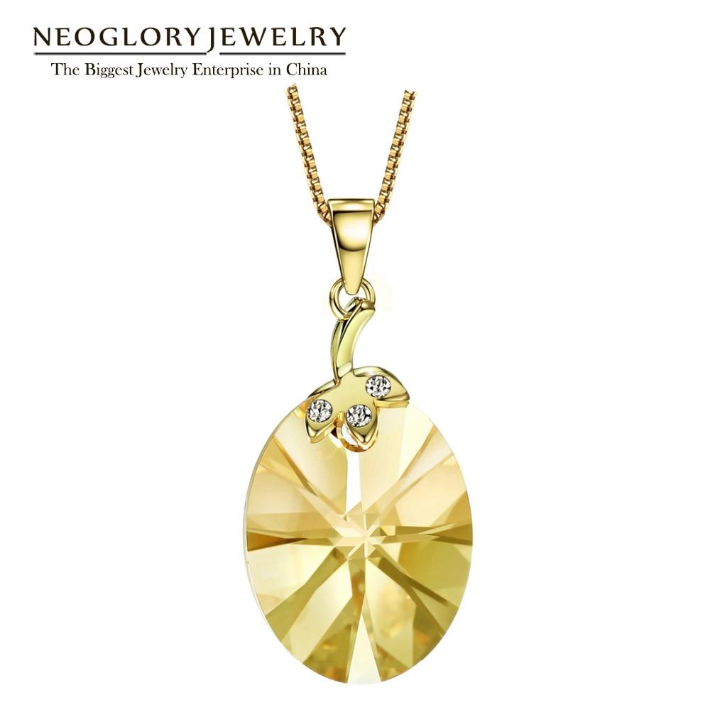 Neoglory Light Yellow Gold Color østrigsk krystal sød halskæde vedhæng gaver til pige 2018 nye birthstone mode smykker js9