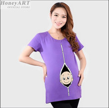 Pregnant women funny maternity shirts mothers fashion short sleeve cotton funny pregnant shirts t shirt maternity FF1432