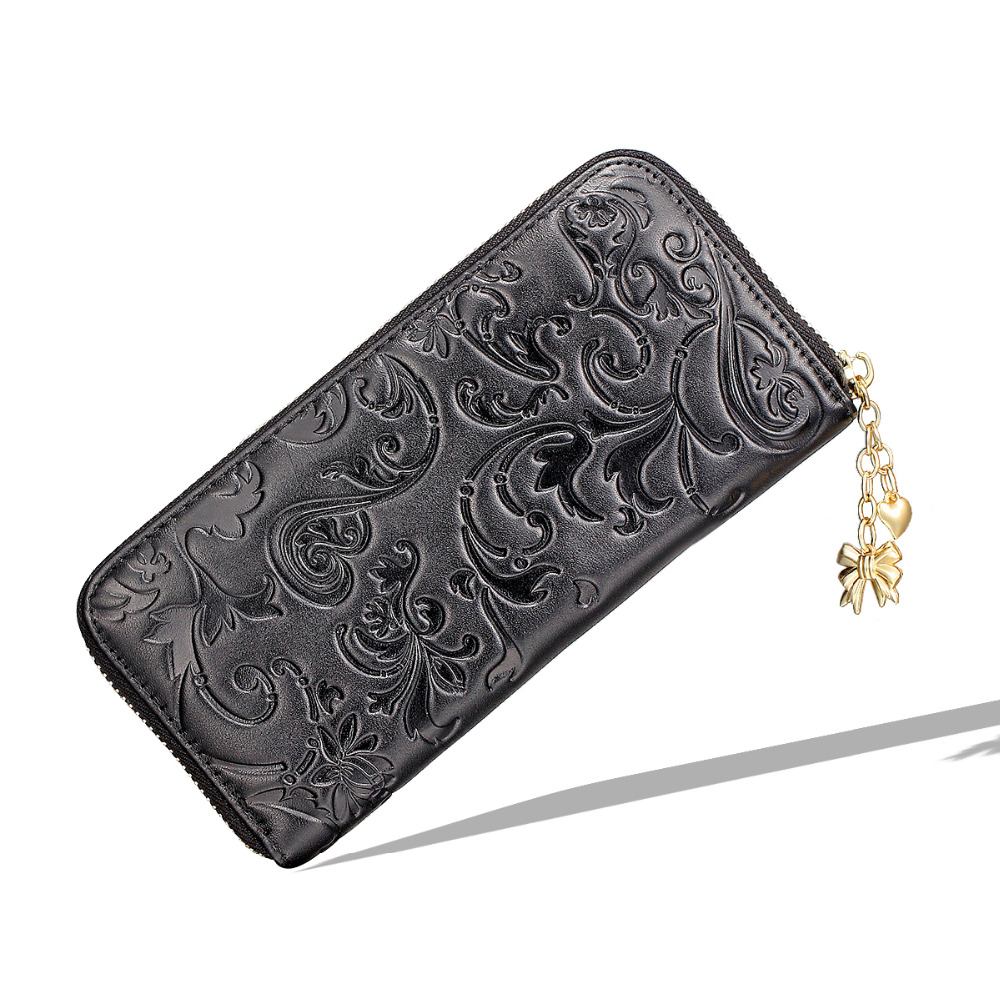 Womens Black Real Genuine Leather Zipper Wallet Coin Purse Morning glory Hot stamping Handbag Long Clutch Card Holder Phone bag glory black red kl108