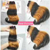 AOSUN HAIR Ombre Human Hair Brazilian Double Drawn Hair Weave Bundles 3 Tone Fumi Double Drawn Curvy Straight Bundles 10 18 Inch
