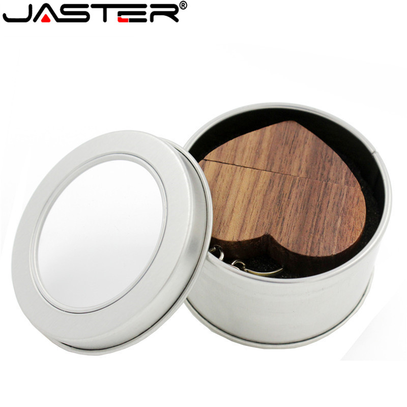 JASTER LOGO Customized Wooden Heart USB + BOX USB Flash Drive Pendrive 64GB 32GB 16GB 8GB Usb 2.0 Photography Wedding Gifts