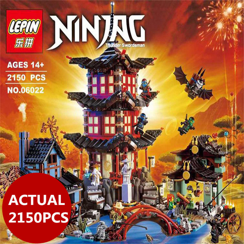 Lepin 06022 Ninja Series The Temple of Airjitzu Set 2150Pcs Building Blocks Bricks 70751 DIY Toys For Kids As Birthday Gifts compatible ninja 70751 lepin 06022 2150pcs blocks ninja figure temple of airjitzu toys for children building bricks 70603 gifts