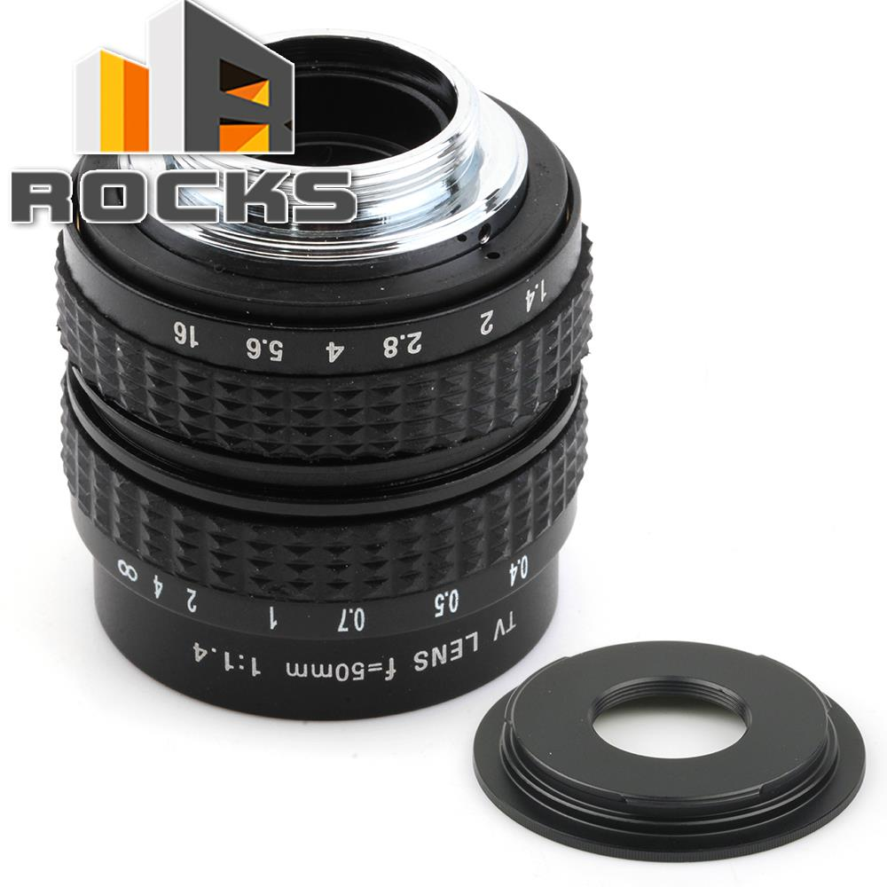 50mm f1.4 CC TV Lens + C mount to Micro M4/3 / NEX / N1 / Pentax Q  /Fuji / e.o.s M M2 Adapter For Panasonic Camera + Lens Cap