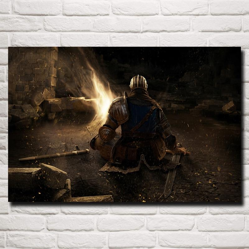 FOOCAME Dark Souls Artwork Video Games Art Silk Fabric Poster Print Home Wall Decor Painting 12x18 16X24 20x30 24x36 Inches