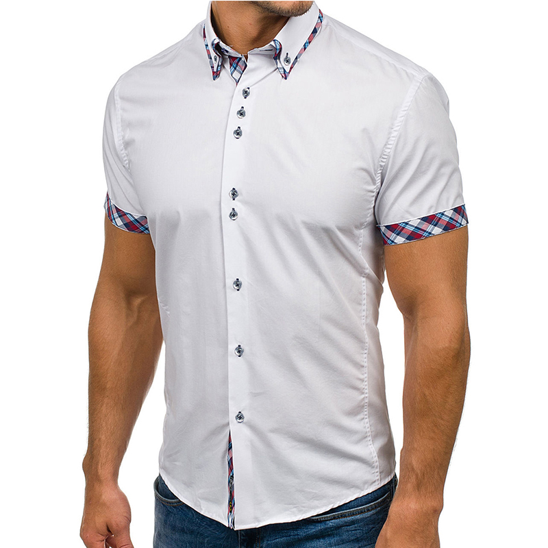 Wholesale Men Shirt 2018 Brand Fashion Casual Slim Short Sleeve Dress Shirt Cotton Plus Size Solid Color Top Clothes White Black 1