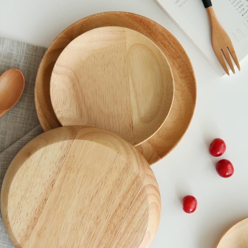 Massivholzteller Kuchen Dessertteller Set Snack Obstteller Sushi Teller Holz Servierteller Geschirr Küchenutensilien Dia 15cm 20cm
