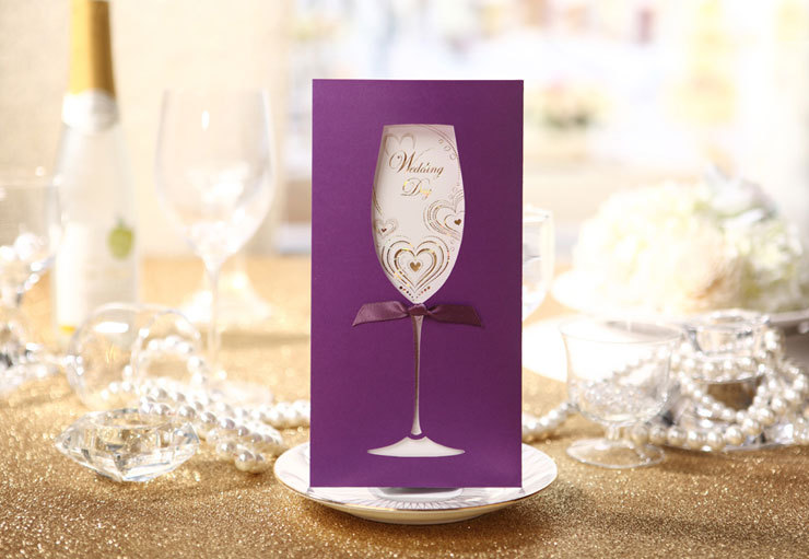 elegant paper purple wine glass design pocket wedding invitations