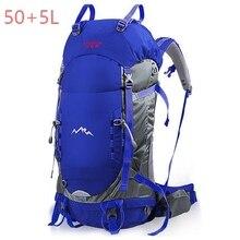 50+5L Outdoor Sport Bag, Prefessional Outdoor Hiking Bagpack, Mochila Waterproof Rain cover , 33*23*66cm