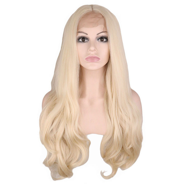 QQXCAIW Handmade Natural Hairline Glueless Lace Front Wig For Women Blonde Body Wave Heat Resistant Fiber Synthetic Hair Wigs