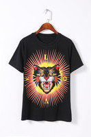 The Big Brand Same Style Black Tiger Head Embroidered T Shirt Love Letter Europe And America
