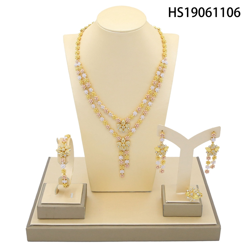 Yulaili 2019 New Wholesale Dubai Crystal Jewelry Sets Tricolor Flower Pendant Necklace Bracelet Earring Wedding Jewellery Sets in Jewelry Sets from Jewelry Accessories