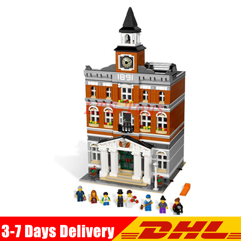 IN Stock DHL 2859 PCS Lepin 15003 The Topwn Hall Model Building Blocks Kid Kits Compatible Legoed 10224 Birthday Gifts Toys in stock lepin 15003 creators the town hall model compatible legoing 10224 building kits blocks kid diy toy gifts for children