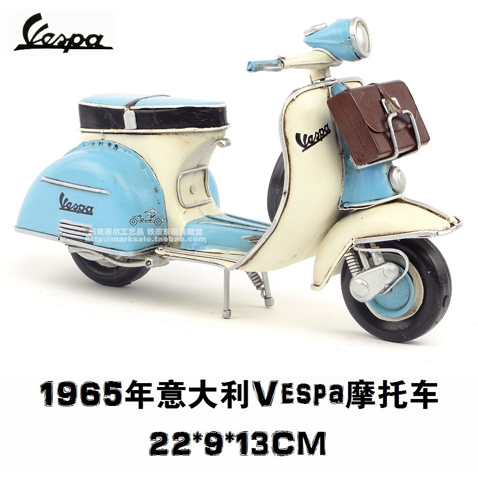 hot classic motor style retro 1965 italy vespa motorcycle model creative mini iron motorbike. Black Bedroom Furniture Sets. Home Design Ideas