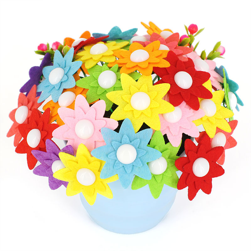 Children Creative DIY Button Bouquet Material Package Kindergarten Handmade Colorful Button Flowers Mother's Day Gifts DIY Toys