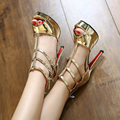 Free shipping new summer wild waterproof high-heeled sandals with thin silver fish head shoes Ms.