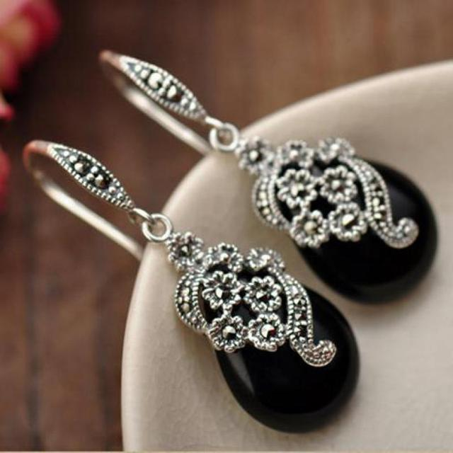 GQTORCH Real 925 Sterling Silver Drop Earrings For Women Vintage Flower Carving Black Green Agate Natural Gemstone Fine Jewelry-in Earrings from Jewelry & Accessories on Aliexpress.com | Alibaba Group