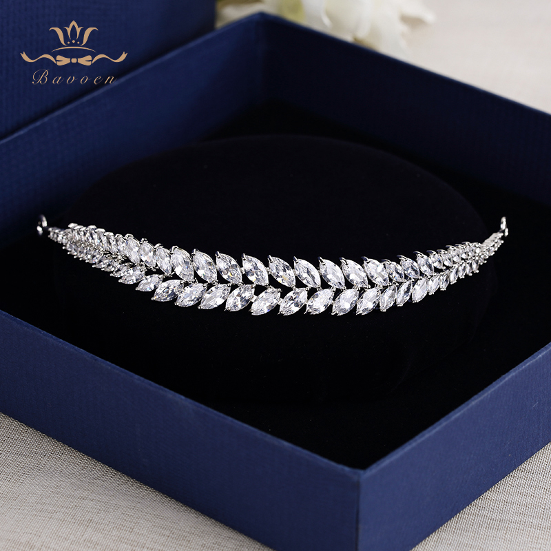 Bavoen Elegantní listy Clear Zircon Wedding Tiaras Hairbands Křišťálové nevěsty Vlasové doplňky Večerní vlasy Šperky Dárky na narozeniny