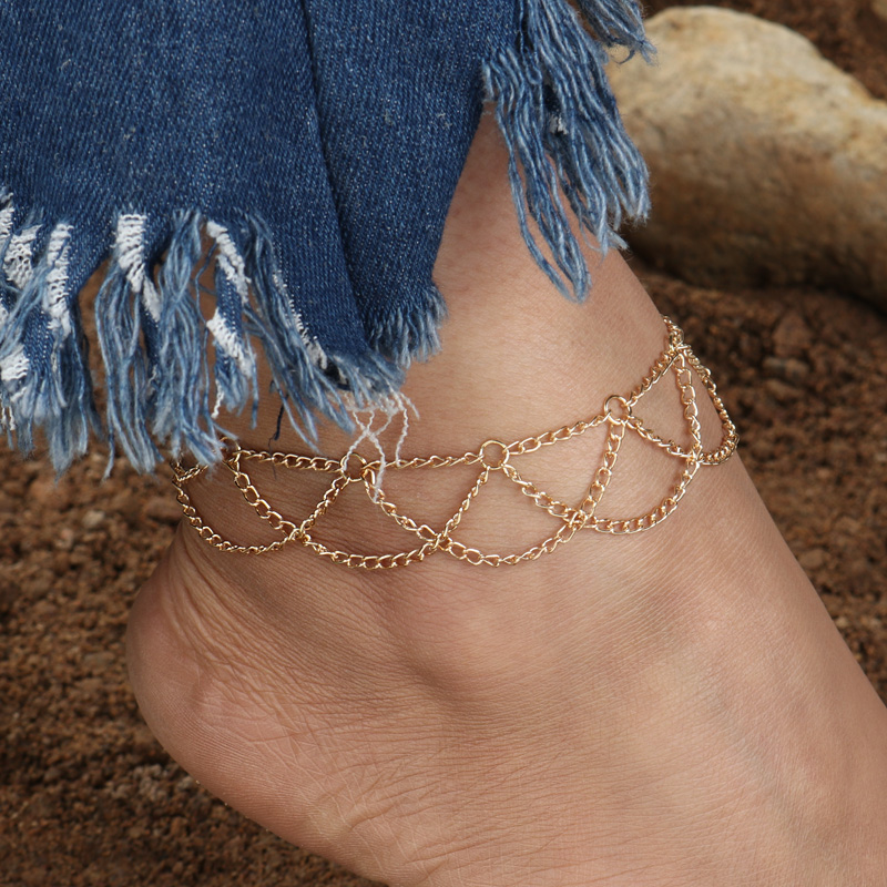 Simple Wave Chain Anklet Ankle Bracelet Barefoot Sandal Beach Foot Jewelry STWR