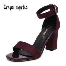 crape myrtly women sandals  34-41 strap buckle summer shoes woman fashion high heels gladiator sandals women sandalias