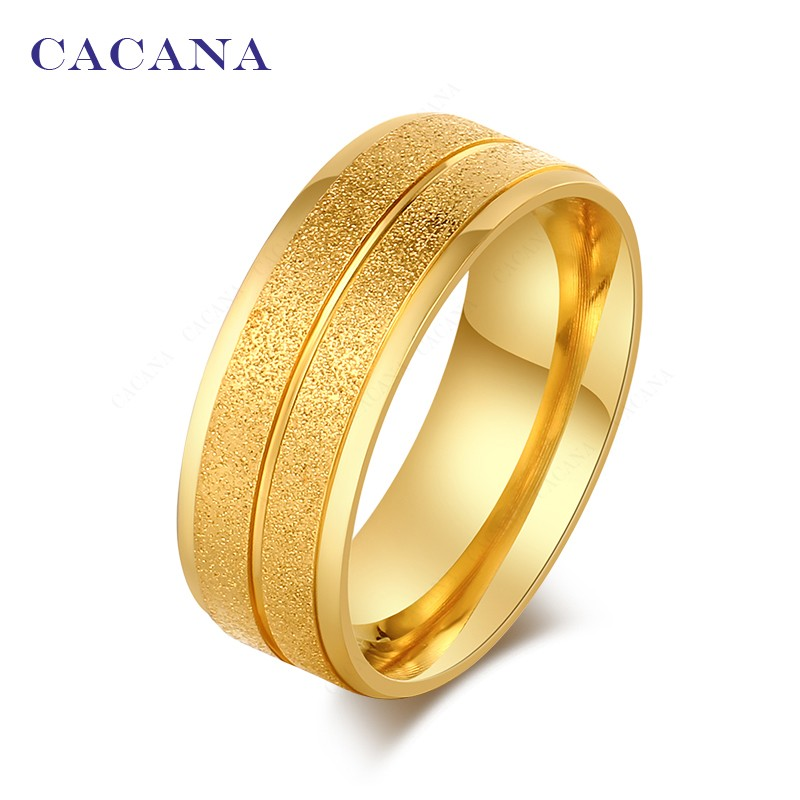 CACANA Titanium Stainless Steel Rings For Women Double Path Fashion Jewelry Wholesale NO.R21