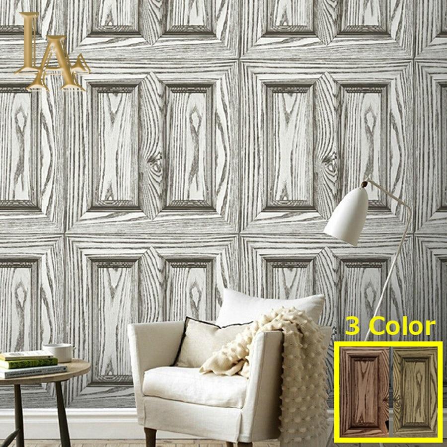 High Quality Waterproof Vinyl Vintage Wood Door 3d Wallpaper Living Room Bedroom Wall Decor Grey Brown