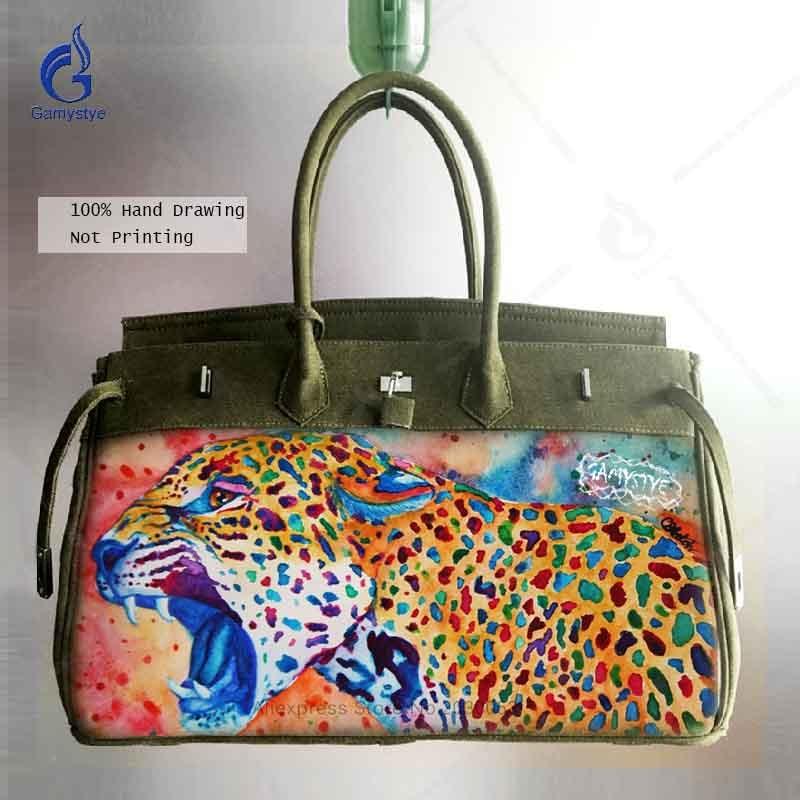 Navy Green Causal Bag Platinum Lock Women Large Capacity Shoulder Tote Bag Famous Brand Design Handbag Hand Painted Lion Bags