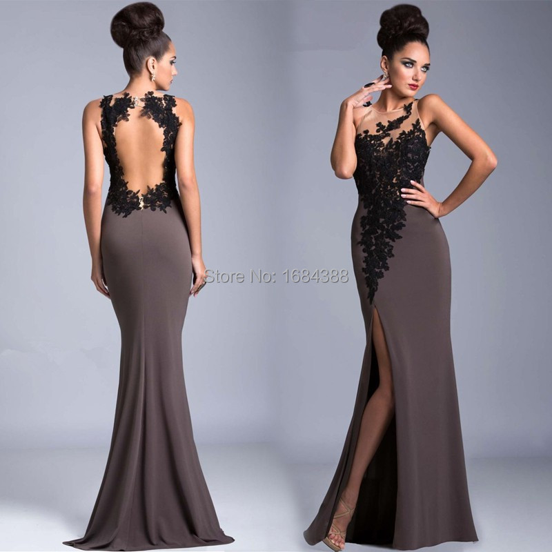 2015 Evening Gown Elegant Chiffon Lace Appliques Prom Dresses Free ...
