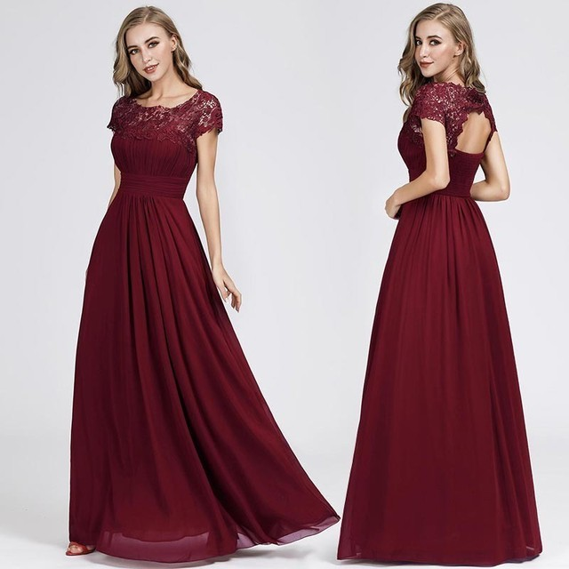 New Elegant Lace Long Prom Dresses 2020 A-Line O-Neck Short Sleeve Sexy Women Formal Evening Party Gowns Vestidos De Gala 2020 5