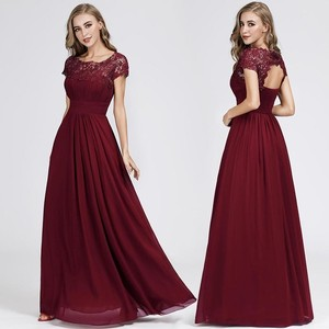 Image 5 - New Elegant Lace Long Prom Dresses 2020 A Line O Neck Short Sleeve Sexy Women Formal Evening Party Gowns Vestidos De Gala 2020
