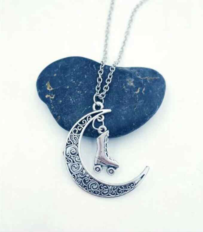Roller Skates Chain Necklace Moon Pendant Necklace Jewelry DIY Cowboy boots cowboy hat 60cm Long Necklace birthday gift D 03