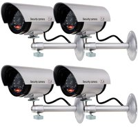 ANTCREST Bullet Dummy Fake Surveillance Security CCTV Dome Camera Indoor Outdoor With 1 LED Light Warning