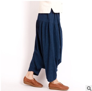 Fall 2015 new product launch, original design high quality 45% cotton 55% linen loose women of big yards baggy trousers