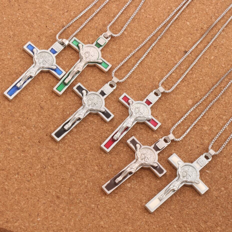 20pcs  Silver Plated 5Color Enamel Saint Benedict Medal Italia Crucifix Cross Religious 53.1x29.2mm Pendant Necklaces N1715