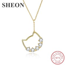 SHEON Pet Collection Authentic 925 Sterling Silver Cute Cat Kitty Pendant Necklaces For Women Jewelry Gift