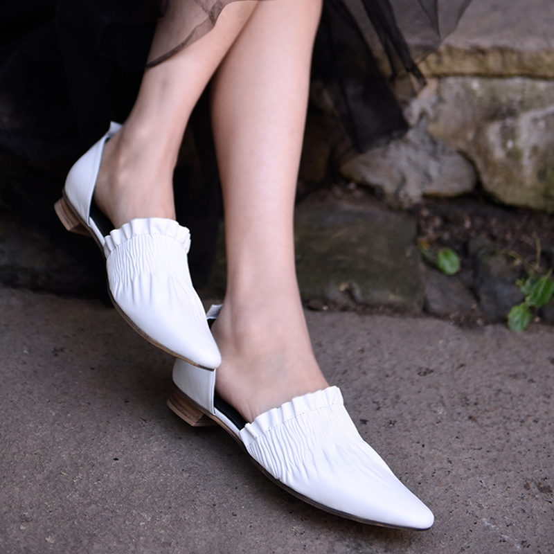 Artmu Original New Pointed Toe Women Sandals Ruffles Genuine Leather Womens Shoes Low Heels Handmade Shoes X3-3Artmu Original New Pointed Toe Women Sandals Ruffles Genuine Leather Womens Shoes Low Heels Handmade Shoes X3-3