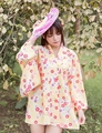 Vintage Цветочные Халат Юката Японский Сакура Кимоно Женщины Лето Лолита Пальто Свободные Куртки И Пиджаки