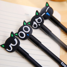 1 Pcs 0.38mm Japanese Black Cute Kawaii Black Cat Gel Ink Pen For Writing Korean Office School Supplies Stationery