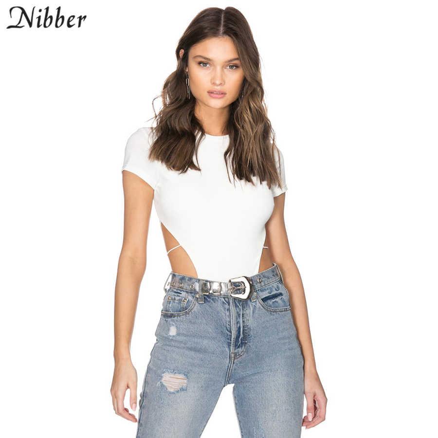 Nibber, черный, белый, сексуальный, открытая спина, боди для женщин, лето 2019, дикое молоко, шелк, стрейч, короткий рукав, пляжный, досуг, комбинезон для отпуска