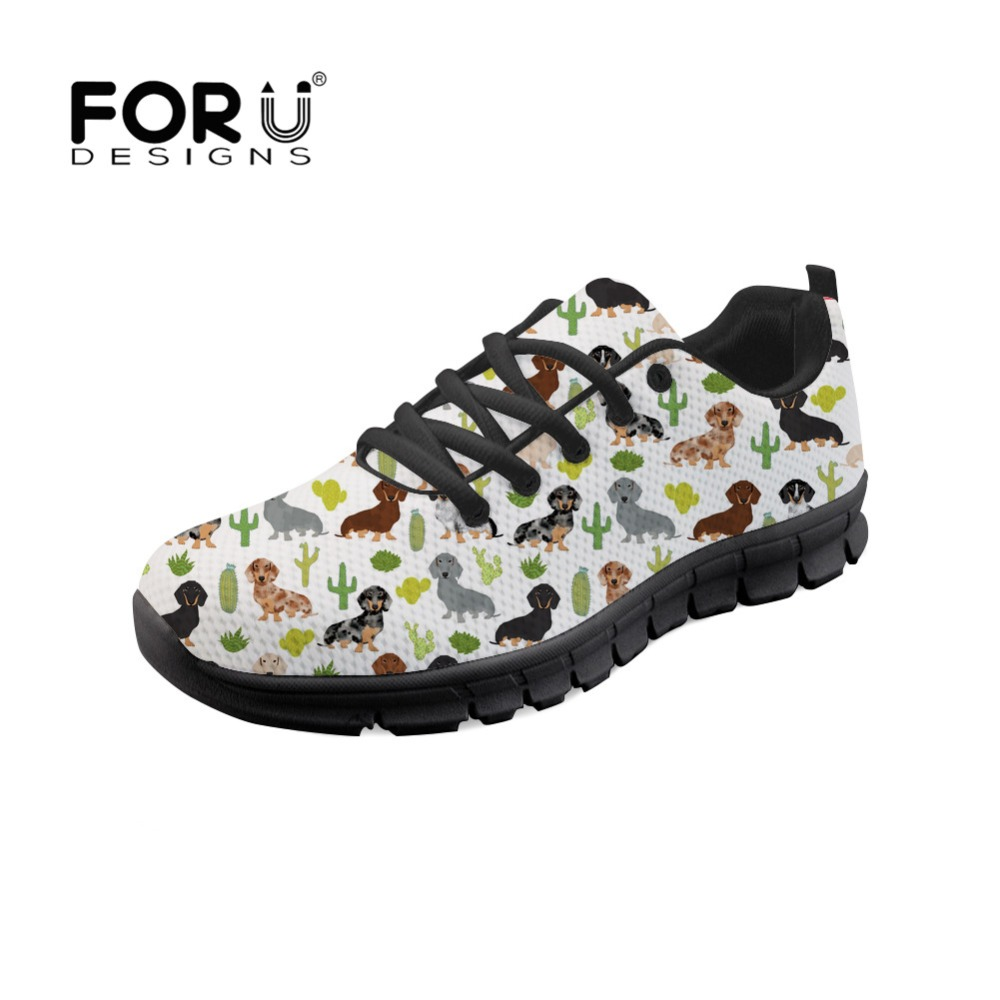 FORUDESIGNS Auutmn 2018 Women Sneakers Cactus Doxie Dachshund Dog Print Lace Up Comfortable Mesh Flats Shoes Light Casual Shoes