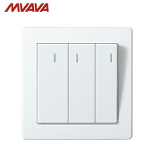 MVAVA Push Button Lamp Wall Switch 16A 250V 3 Gang 2 Way Light Switches Luxury White Panel Factory Direct Sale Free Shipping
