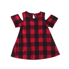 Newborn Toddler Girls Dress Summer Off Shoulder Short Sleeve Red Black Plaid Princess Casual Blouses Baby Kids Sundress Clothes(China)