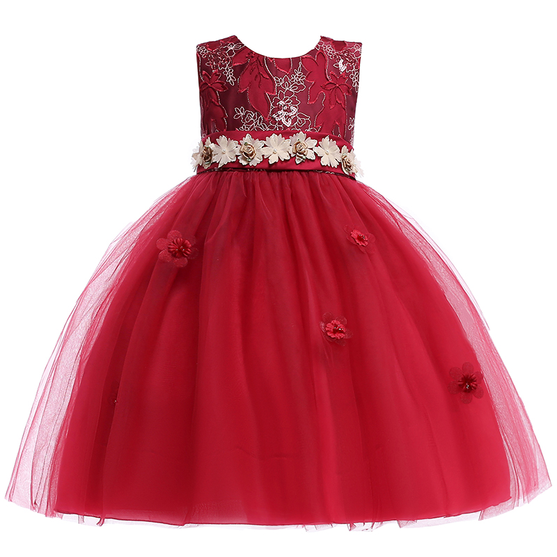 Embroidery Princess Formal Evening Prom Gown   Dress   Elegant Appliques Princess Party   Dress   With Pearl   Flower     Girl     Dresses