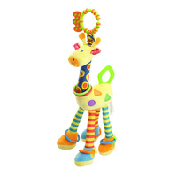 High Quality Baby Development Soft Giraffe Plush Toys Handbells Rattles Toy With Bell Ring Infant Teether