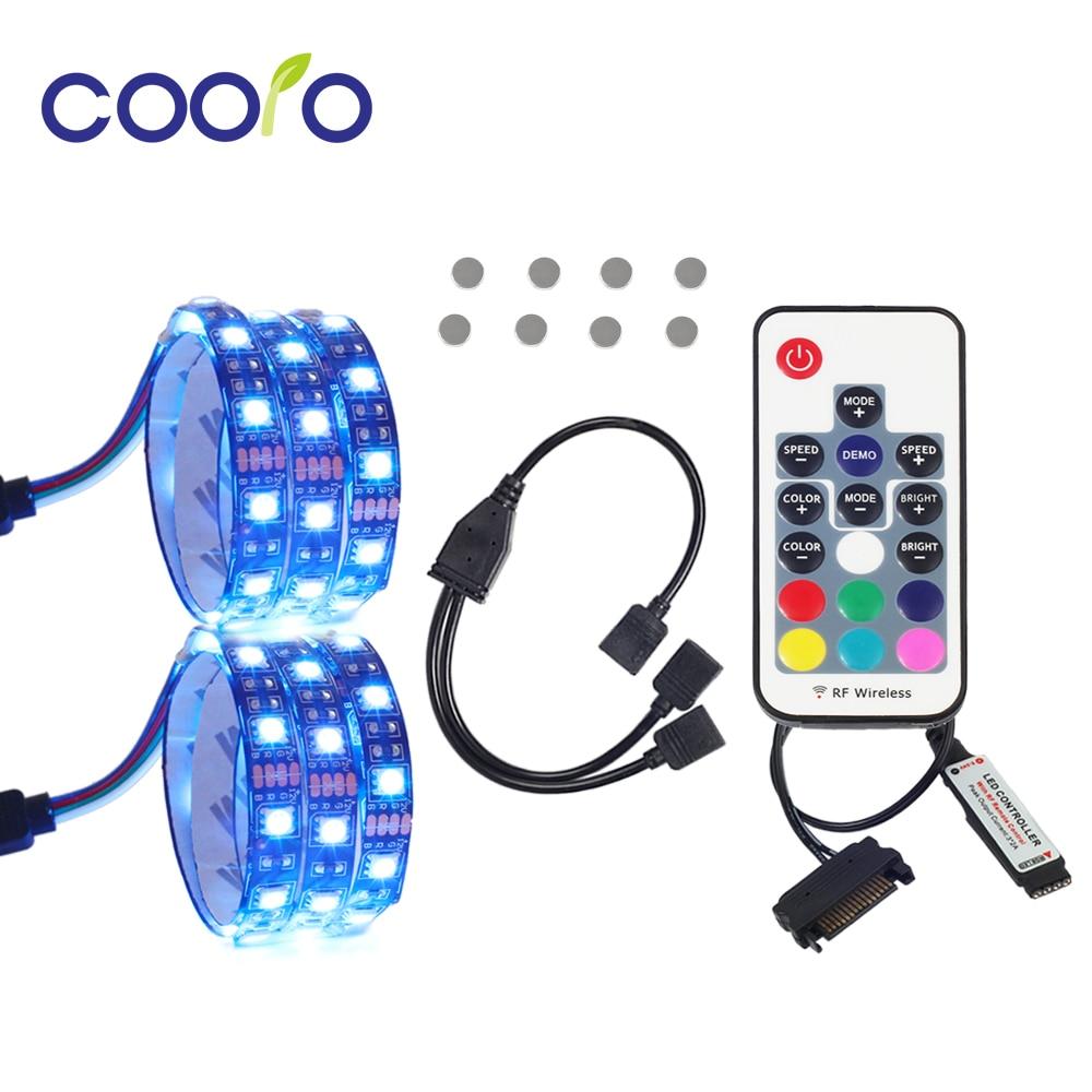 RGB LED Strip Light PC Computer Case Light 2PCS Set With Magnet Remote Control 4Pin Divided Connecter 2pcs hml rgb light strip