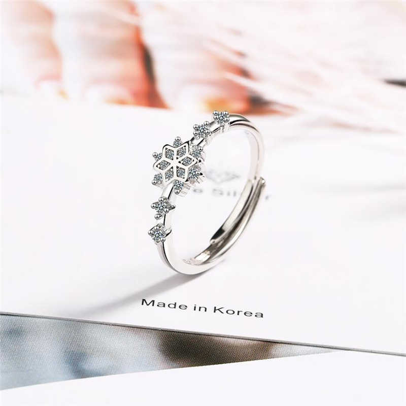 Sole หน่วยความจำ Creative Zircon ดอกไม้สดหวานน่ารัก 925 เงินสเตอร์ลิงหญิงปรับขนาดได้เปิดแหวน SRI365