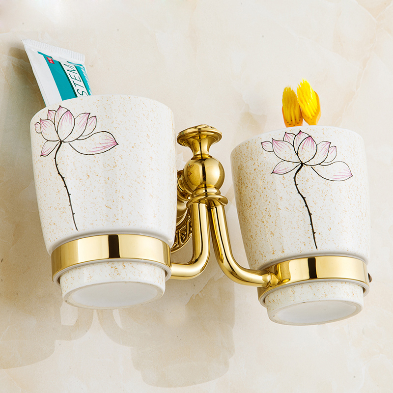 ФОТО Brass Finish Wall Mounted Toothbrush Holder Cup Double Cup Holder