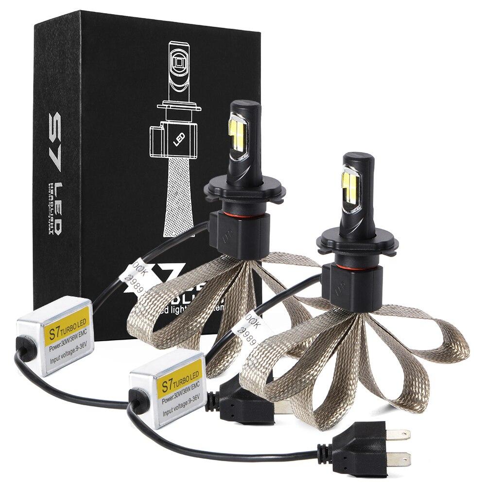 ФОТО H4 Auto LED Headlight Cooling Belt Kit 72W 4000LM COB XM-L2 LED Light Bulb LD766